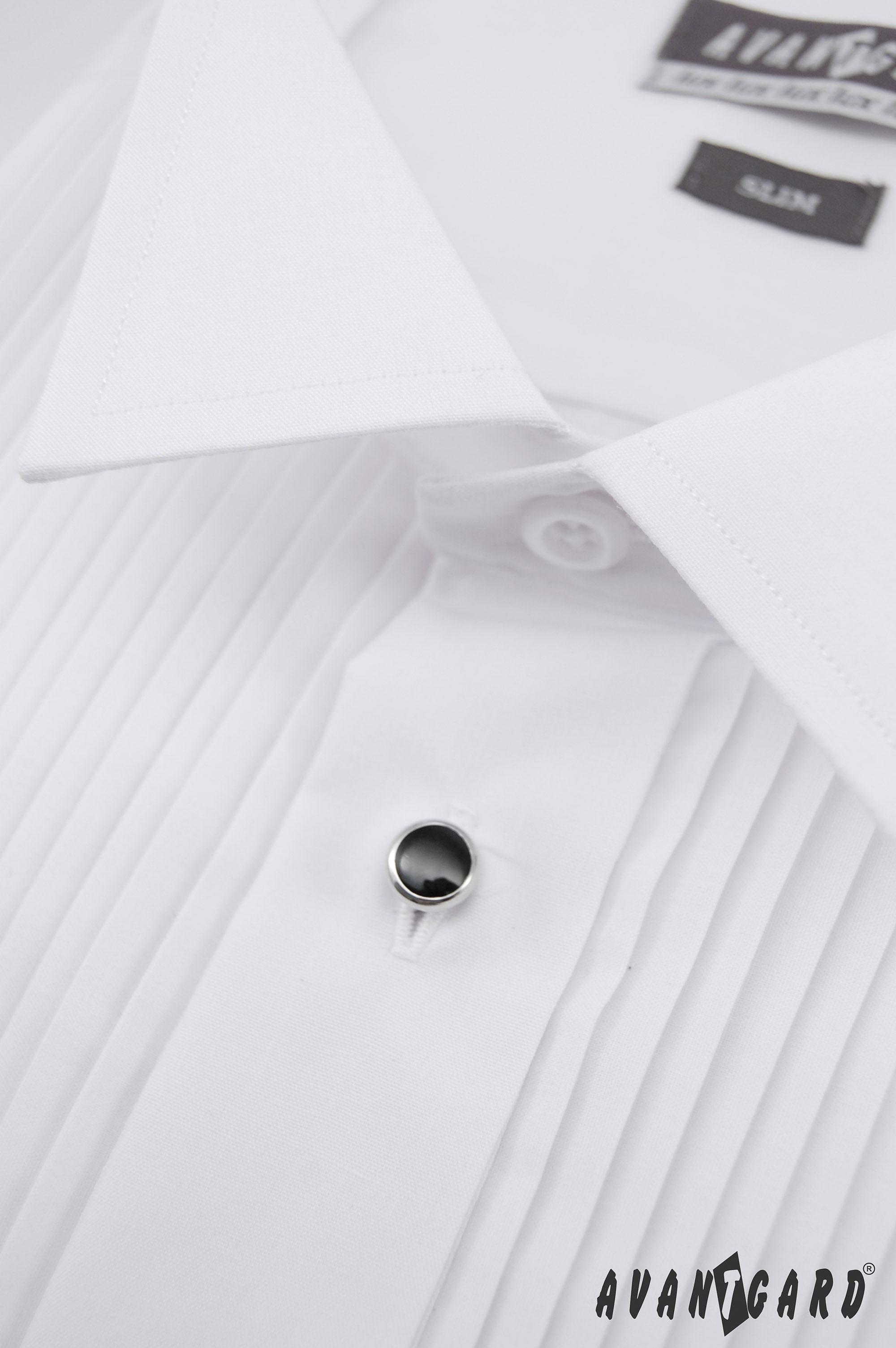 Avantgard pánská košile Frakovka SLIM dl. rukáv na manžetový knoflík se  sadou knoflíčků 112-1 barva bílá 509b8a6384