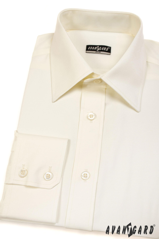 Avantgard pánská košile SLIM dlouhý rukáv 167-2 barva smetanová