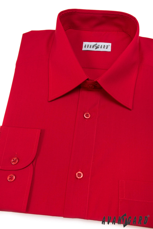 Avantgard pánská košile Klasik dlouhý rukáv 451-12 barva červená
