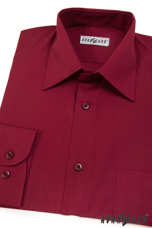 Avantgard pánská košile Klasik dlouhý rukáv 451-13 barva bordó