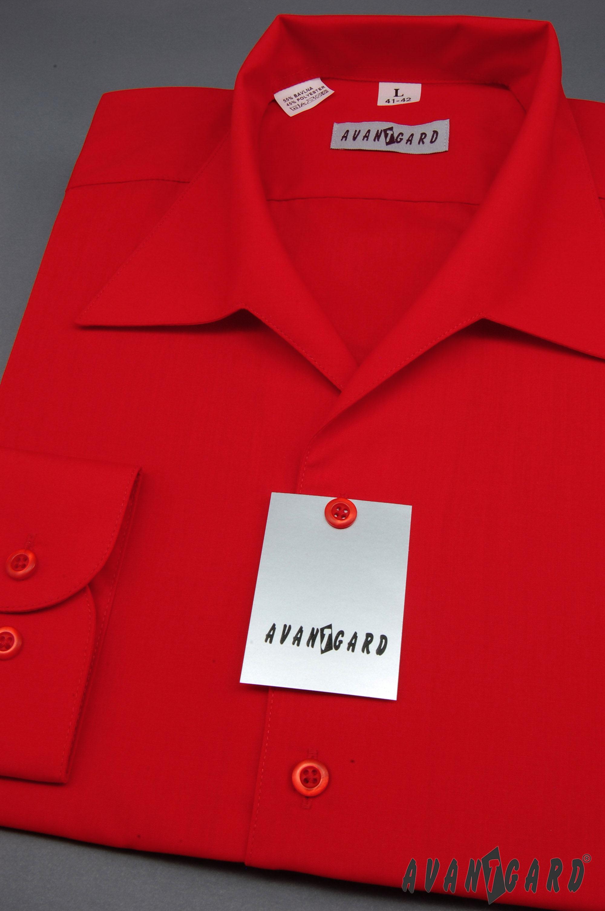 Avantgard pánská košile rozhalenka dlouhý rukáv 457-12 barva červená