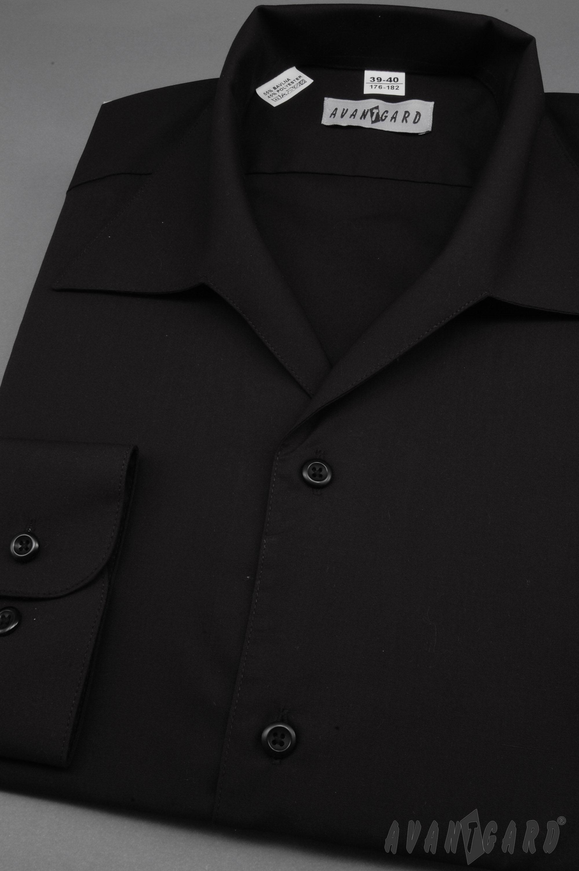 Avantgard pánská košile rozhalenka dlouhý rukáv 457-23 barva černá