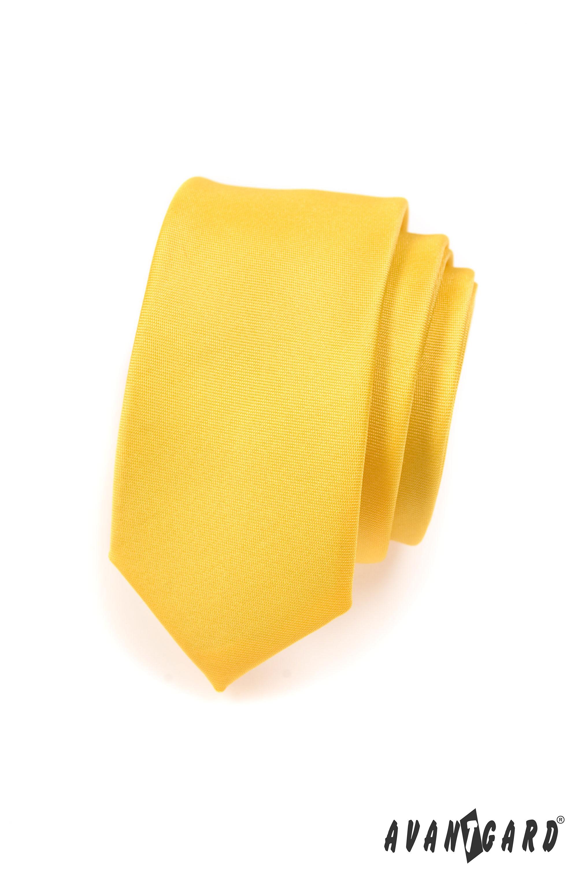 Avantgard kravata SLIM 5737700 Žlutá MAT
